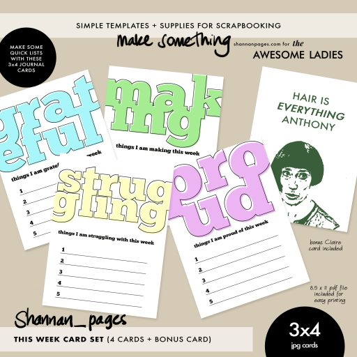Preview of This Week journaling cards by shannan