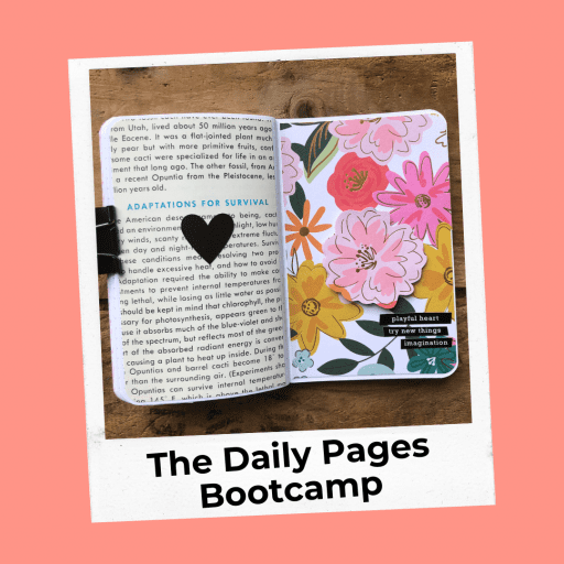 notebook with heart sticker and vintage paper and floral paper on the other side